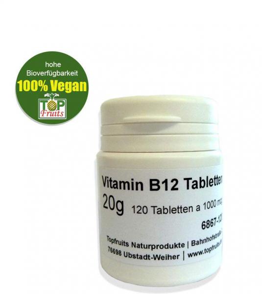 B12 Lutschtabletten - 120 Stk mit je1000 µg Cyanocobalamin