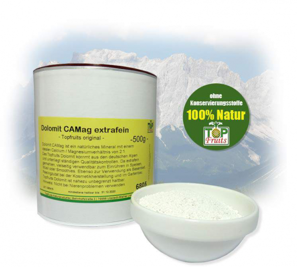 Dolomit CAMag extrafein - Topfruits original - (Nachfolger DOLPES), natürliches Calcium/Magnesium