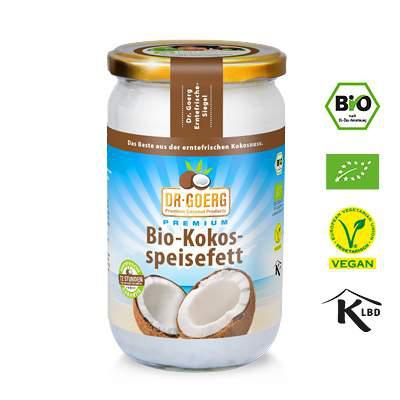 Bio-Kokosspeisefett, 1000ml Glas - biokbA (Kokosöl - hitzestabil und geschmacksneutral)