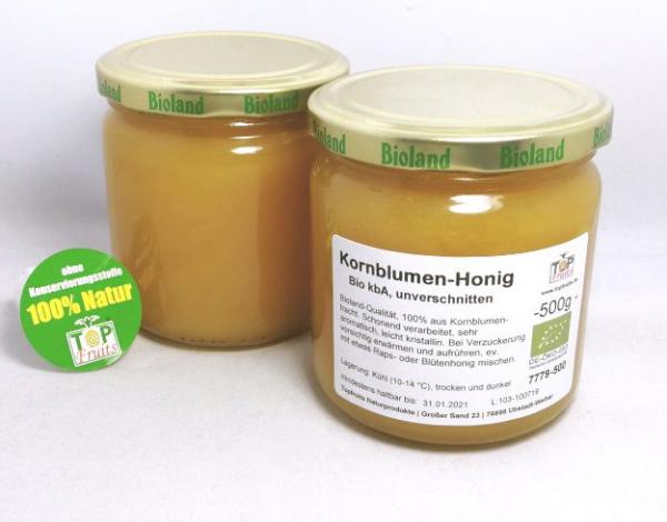 Kornblumenhonig, bio kbA - Bioland - 500g Glas - Sortenreiner Honig unverschnitten, würzig, gehalt