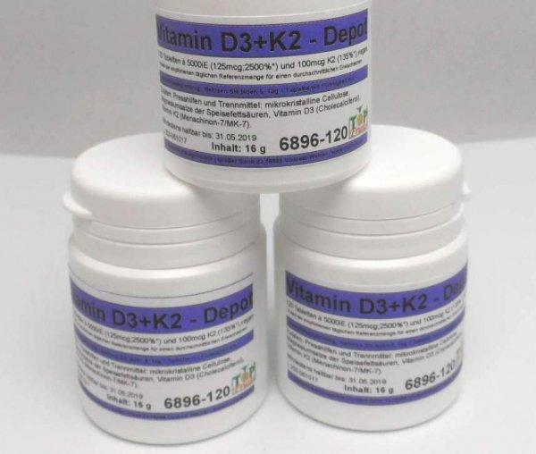 Vitamin D3 5000iE + Vitamin K2, 100 mcg, 120 Tabletten, Depot, vegan, synergistisch
