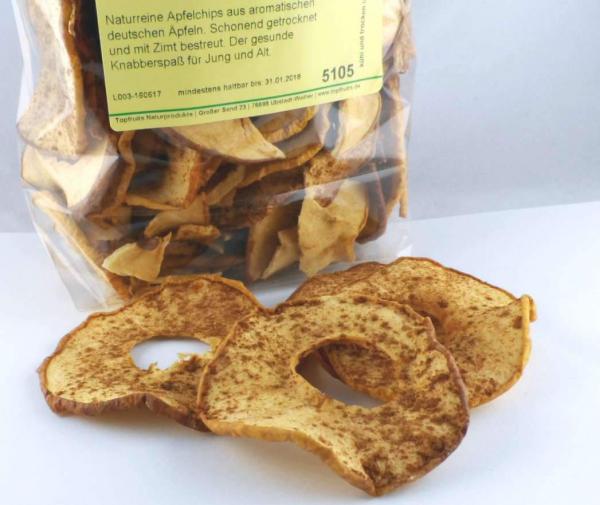 Apfelchips mit Zimt, reine Natur, knackig getrocknet aus deutschen Äpfeln