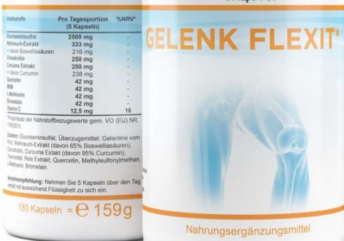 Gelenkflexit Kapseln, 150 Kapseln mit 9 Inhaltsstoffen