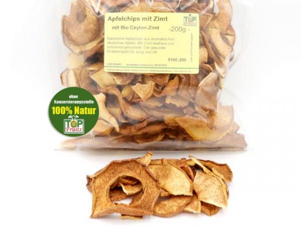 Apfelchips mit Ceylon Zimt, reine Natur, knackig getrocknet aus deutschen Äpfeln