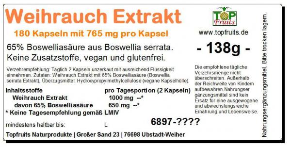 Weihrauch Extrakt, 180 Kapsel a 765 mg, mit 65% Boswelliasäure, vegan