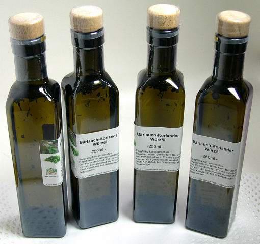 Bärlauch-Koriander Würzöl, kalt gepresst - 250ml - mit gehackten Bärlauch/Korianderkraut
