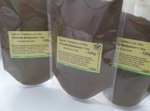 Graviola-Tee - 120g - aus Blattpulver der Stachelannone (Annona muricata, Guanábana, Guyabano, Sauersack)