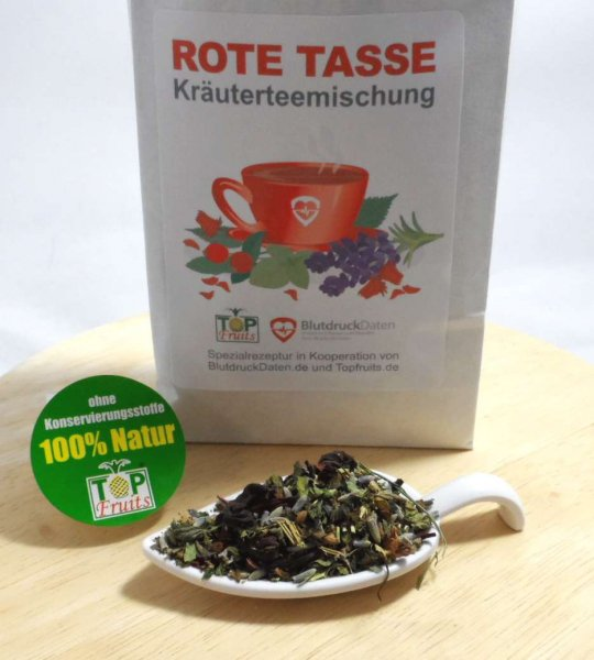 Rote Tasse, Tee-Spezialmischung in Kooperation mit Blutdruckdaten.de