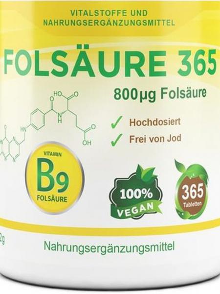 Folsäure Vitamin B9, 365 Tabletten a 800 mcg Folat, vegan