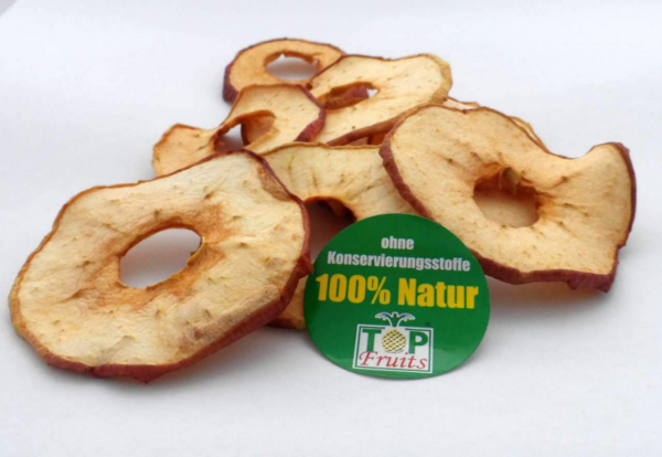 Apfelchips, natur, ungeschwefelt, schonend getrocknet aus aromatischen Elstar Äpfeln