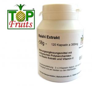 Reishi Vitalpilz-Extrakt - 120 Kapseln a 300mg Inhalt (Trockenextrakt aus Ganoderma Lucidum)