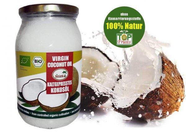 Bio-Kokosöl,Topfruits-Biolanka, kaltgepresst, 900ml Glas - Spitzenqualität - Kennenlernpreis