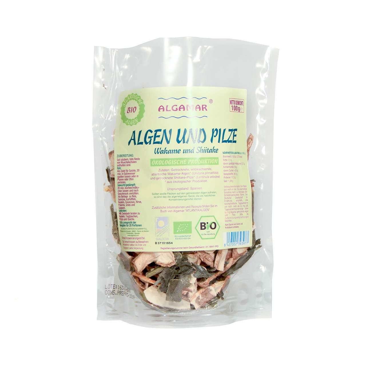 algen und pilze 100g wakame undaria pinnatifida und shiitake lentinula edodes roh und bio. Black Bedroom Furniture Sets. Home Design Ideas