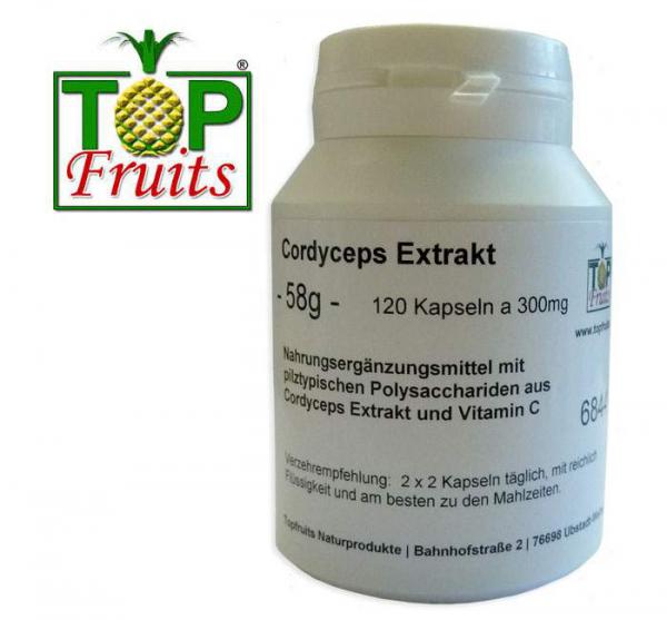 Cordyceps Pilzextrakt - 120 Kapseln a 300mg - Dose - rein pflanzlich