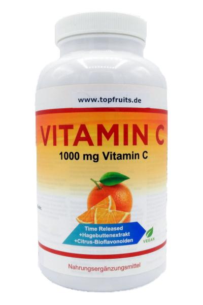 Vitamin C - 1000mg - Time Release - 365 Tabletten Großpackung, vegan - mit Hagebuttenextrakt