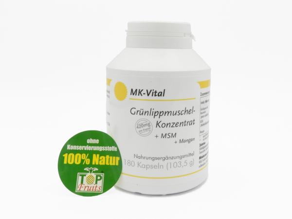 Grünlippmuschel - Konzentrat, 180 Kapseln mit je 420 mg