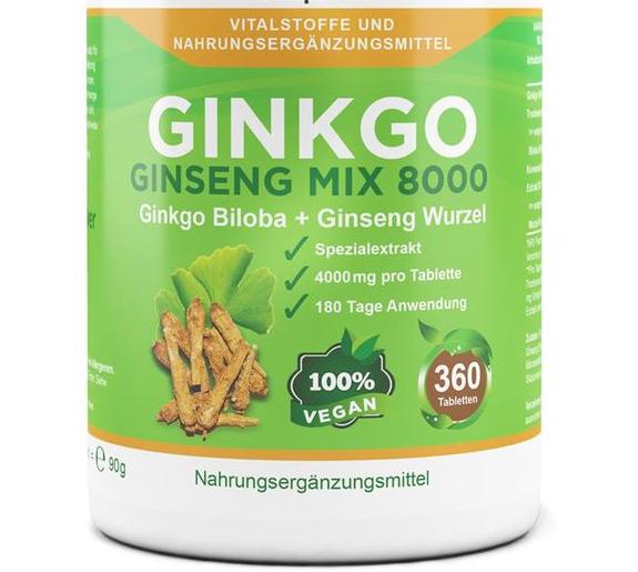 Ginkgo Ginseng Mix 8000, 360 vegane Tabletten