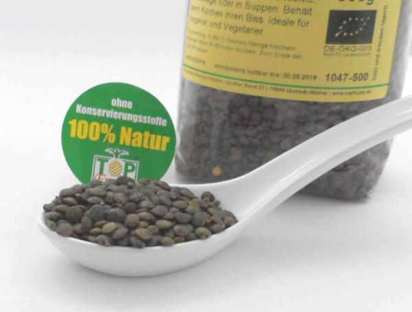 Grüne Delikatess Linsen bio, reich an Eiweißen und Ballaststoffe