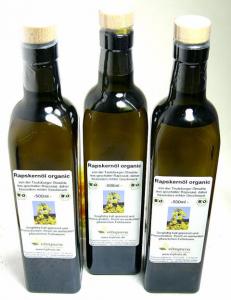Rapsöl (Rapskernöl)  Organic - 750ml Flasche - kaltgepresst, Bio kbA, besonders mild, Teutoburger Ölmühle