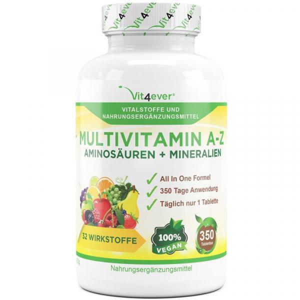 Mulltivitamin Tabletten A-Z - Vitamine, Mineralstoffe, Aminosäuren, vegan, 350 Tabletten