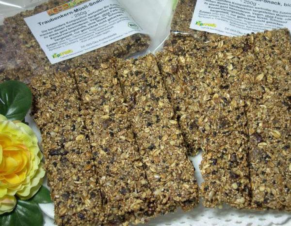 Traubenkern-Müslisnack, bio kbA - 250g Tüte - mit 5% wertvollem Traubenkernmehl