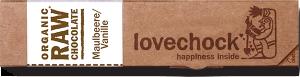 Lovechock - Maulbeere-Vanille - 40g Riegel - bio kbA und Rohkost, 81 % Kakao