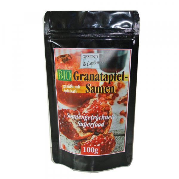 Granatapfelkerne (Granatapfelsamen), getrocknet, mit Fruchtfleisch, bio kbA