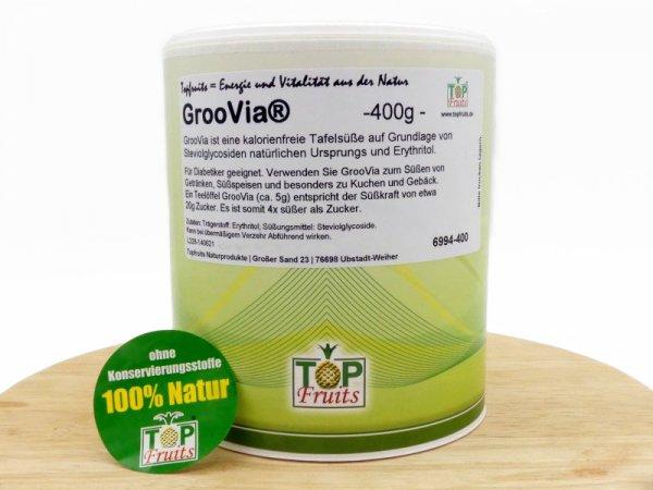 GrooVia® - 400g Dose - Tafelsüsse mit Steviolglykosiden kristallin wie Zucker