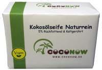 Kokosölseife naturrein, 5% rückfettend, kaltgerührt, vegan
