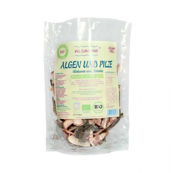 Algen und Pilze, 100g - Wakame (Undaria pinnatifida) und Shiitake (Lentinula edodes) - Roh und Bio