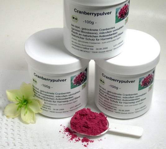 Cranberrypulver bio kbA -100g Dose - 100 % aus ganzen Cranberries