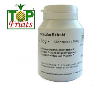 Shiitake Pilzextrakt - 120 Kapseln a 300mg - Dose -  rein pflanzlich