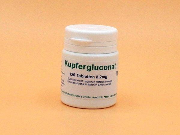 Kupfer - 2mg - als Kupfergluconat, 120 vegane Tabletten, preiswert in praktischer Minibox
