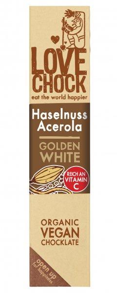 Lovechock - Haselnuss-Acerola, Golden White Riegel, bio kbA, 40g