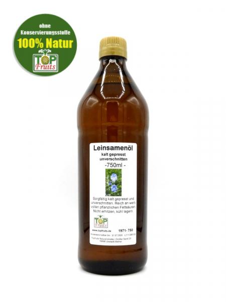 Leinöl (Leinsamenöl) - 750ml Sparflasche - kaltgepresst, 100% natur, immer frisch