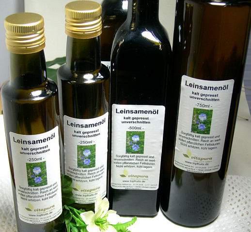 Leinöl (Leinsamenöl) - 750ml Sparflasche - kaltgepresst, 100% natur, immer frisch!