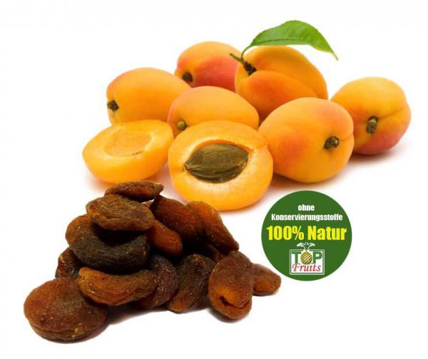 Getrocknete Bio Aprikosen aus vollreifen Früchten ungeschwefelt