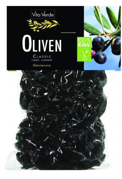 Oliven schwarz, bio kbA , Rohkost, mild leicht gesalzen - 200g Beutel
