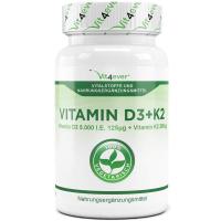 Vitamin D3 500 0iE + Vitamin K2, 200 mcg, 365 Tabletten, Depot, vegetarisch
