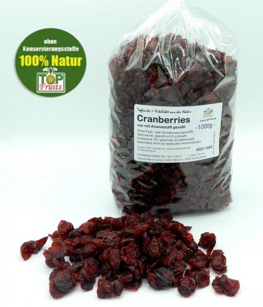 Cranberries (Cranberry, Moosbeere), getrocknet, gesüßt mit Ananassaft