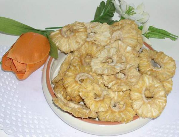 Ananas getrocknet, kleine Ringe, natur, bio kbA, aromatische Spitzenqualität aus Sri Lanka