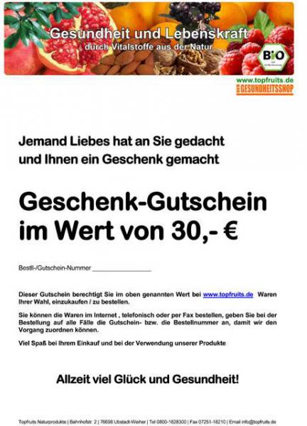 Geschenkgutschein - Wert 30€ -