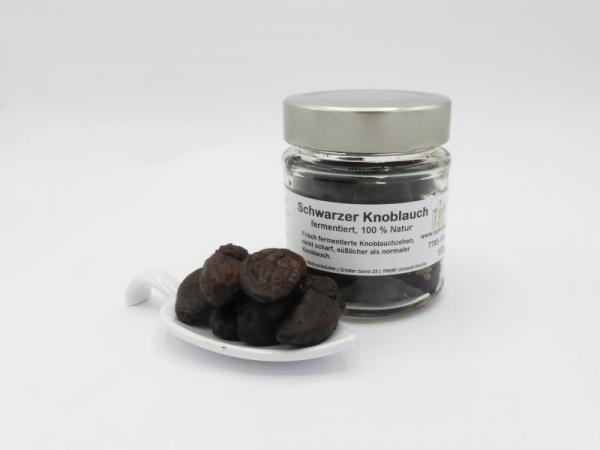 Schwarzer Knoblauch, 100g Glas, fermentierter Knoblauch, ganze Zehen