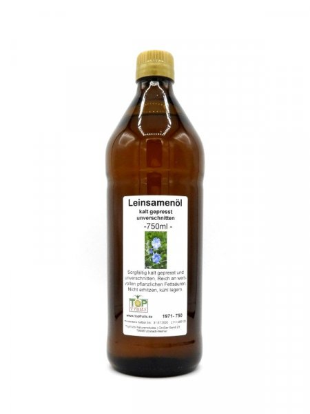 Leinöl (Leinsamenöl), kaltgepresst - Rohkost, reich an Omega-3