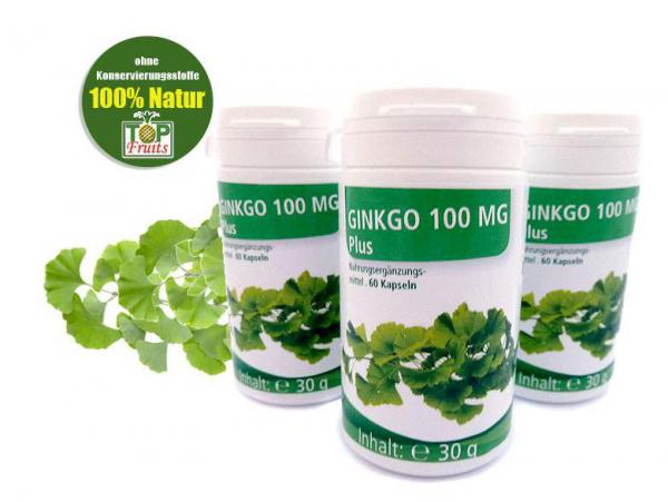 Ginkgo 100 mg Plus, 60 Veggi Kapseln (Ginko Biloba- u. Grüntee Extrakt)