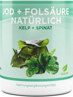 Jod-Folsäure Kapseln aus Kelp- und Spinatextrakt, 180 vegane Kapseln mit 150µg Jod + 800µg Folsäure