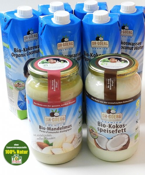 Power und Fresh 3er Bundle, Dr. Goerg Mandelmus, Kokosspeisefett und Kokoswasser
