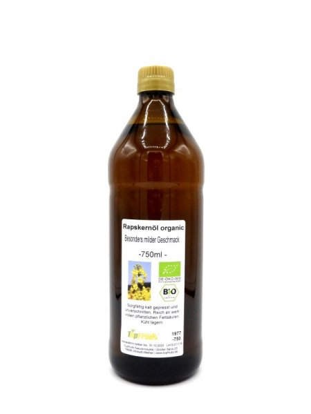 Rapsöl (Rapskernöl) Organic - kaltgepresst, Bio kbA, besonders mild, Teutoburger Ölmühle