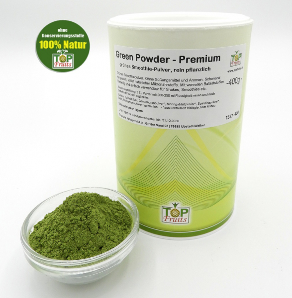 Green Powder Smoothiepulver, grünes Smoothie-Pulver, vegan, 400g