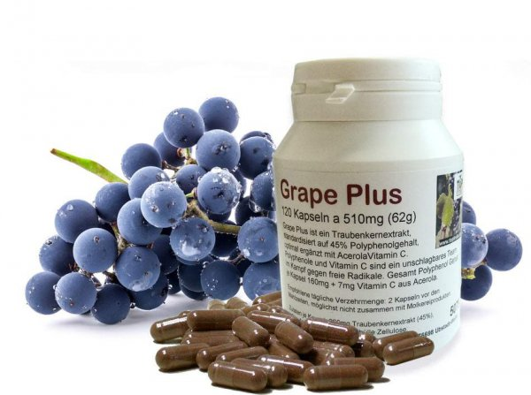 Grape Plus - 120 Vegi Kapseln a 510mg - Traubenkern Polyphenol-Extrakt + Acerola Vitamin C